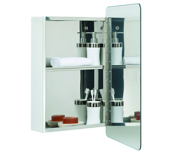 RAK Uno Stainless Steel 460 x 660mm Hinged Single Door Mirror Cabinet