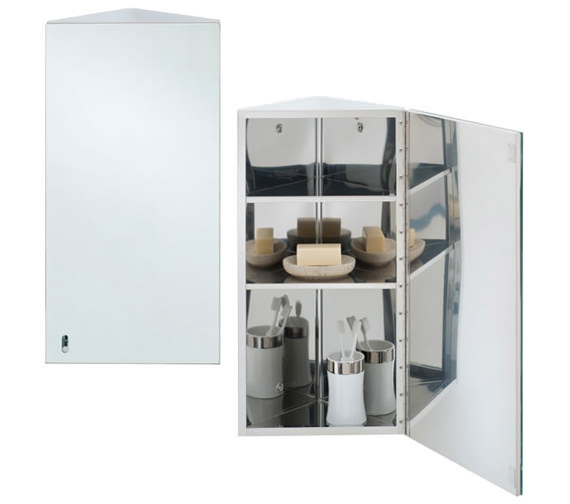 RAK Riva Stainless Steel 190 x 660mm Corner Single Door Mirror Cabinet