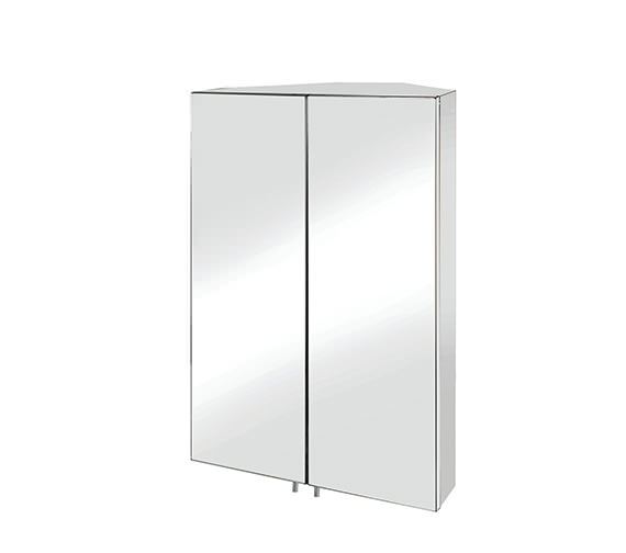 Croydex Avisio Stainless Steel Double Door Corner Mirror Cabinet
