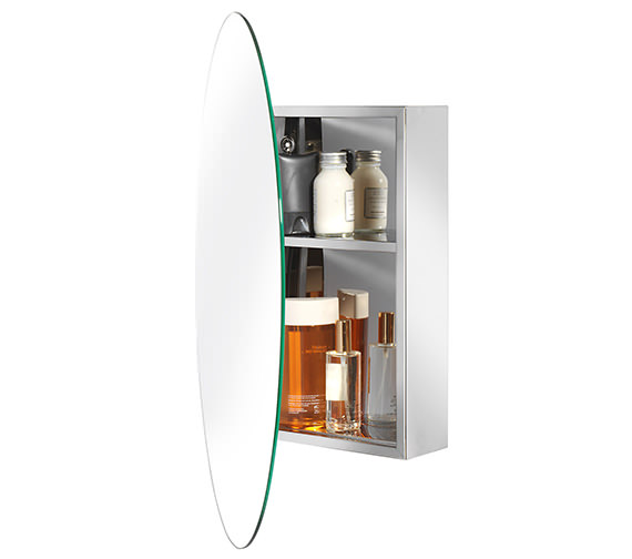 Croydex Tay Stainless Steel Oval Door Mirror Cabinet - WC870105