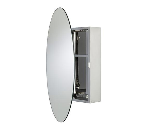 Croydex Tay Stainless Steel Oval Door Mirror Cabinet