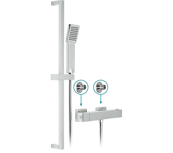 Vado Te-V2 Exposed Thermostatic 1 Function Shower Kit With Brackets