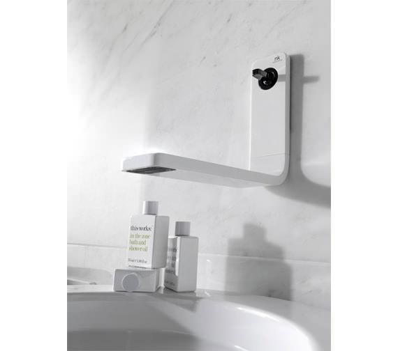 Additional image of Porcelanosa Noken Lounge Wall Mounted White Basin Mixer Tap