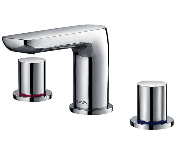 Flova Allore 3 Hole Deck Mounted Basin Mixer Tap With Clicker Waste
