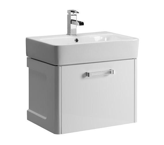 Tavistock Q60 575mm White Wall Mounted Vanity Unit And Ceramic Basin