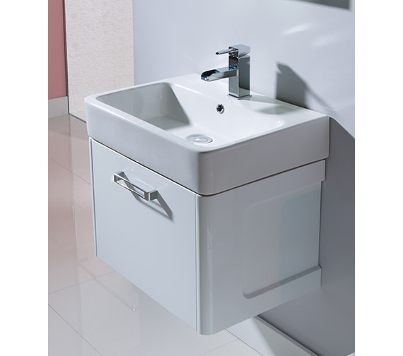 Tavistock Q60 575mm White Wall Mounted Vanity Unit With Ceramic Basin