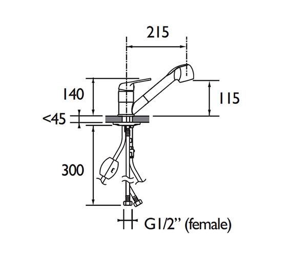 Technical drawing QS-V79195 / PEA PULLSNK C