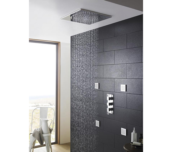 Hudson Reed Chrome Square Ceiling Tile Fixed Shower Head