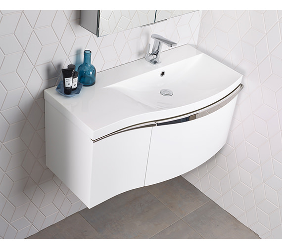 Roper Rhodes Serif 900mm Gloss White Right Hand 2 Drawer Wall Hung Unit With Basin