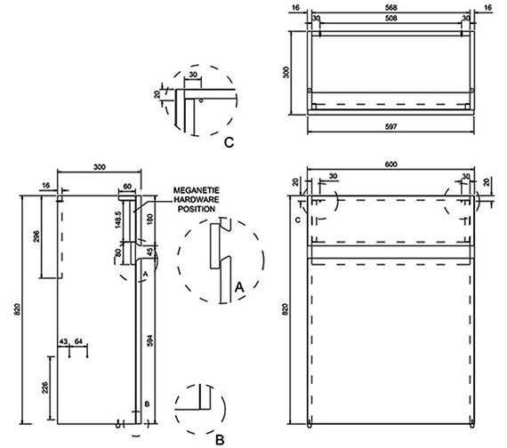 Technical drawing QS-V8087 / B31W