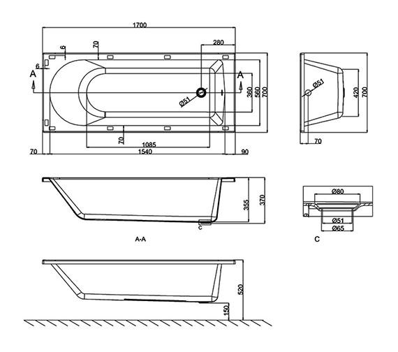 Technical drawing QS-V8098 / R52