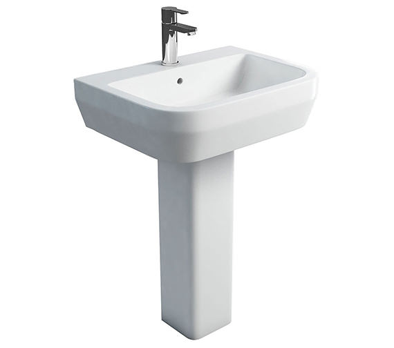 Britton Curve S30 Wash Basin 600mm With Square Fronted Pedestal
