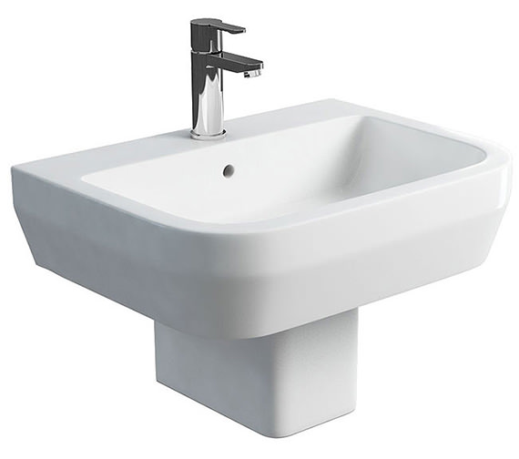 Britton Curve S30 Basin 600mm With Square Fronted Semi Pedestal