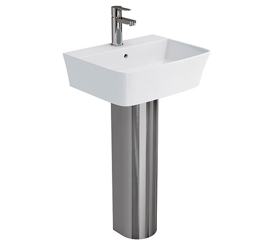 Britton Fine S40 Basin 50cm With Stainless Steel Full Pedestal