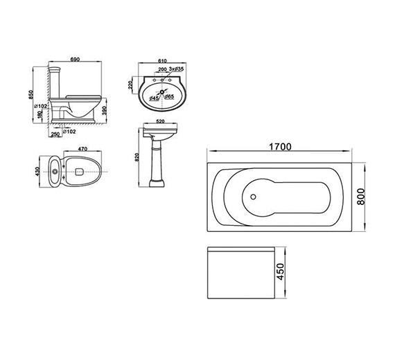 Technical drawing QS-V8891 / Aqva - QS-8891