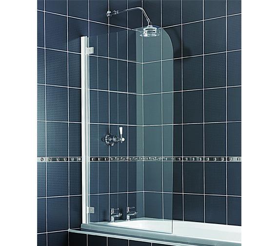 Aqualux Aqua 5 Radius Bath Screen 850mm With White Hinge - FS6130AQU