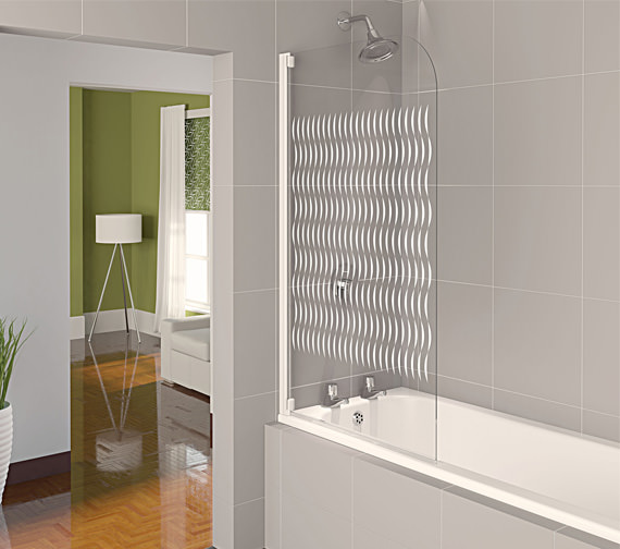Aqualux Aqua 4 Half Frame Bath Screen White Ribbon Glass - FBS0320AQU