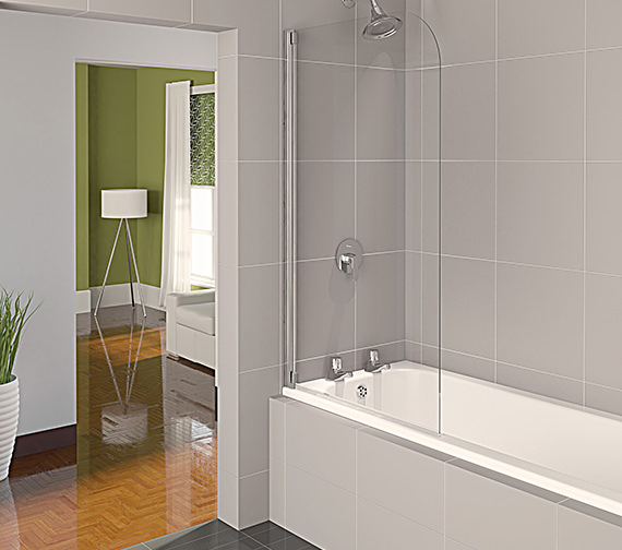 Aqualux Aqua 4 Half Frame Bath Screen Polished Silver Clear Glass 800mm