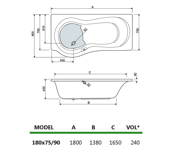 Technical drawing QS-V17684 / 154IRIS18RH