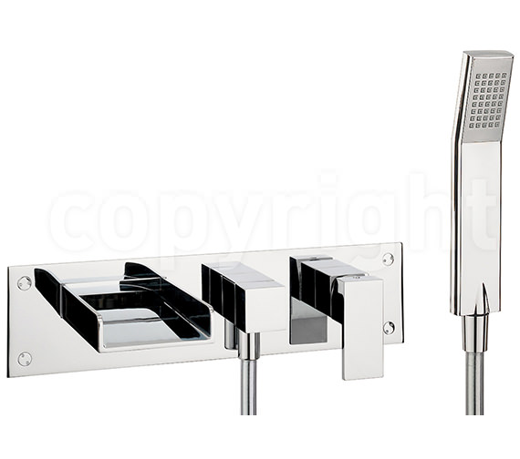 Crosswater Water Square Wall Mounted 3 Hole Bath Shower Mixer With Kit