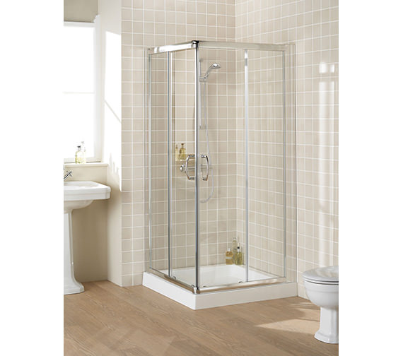 Lakes Classic Silver Semi Frame-less Corner Entry Enclosure 1000mm