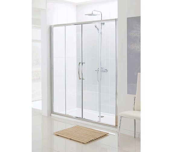 Classic Silver Semi Frame-less Double Slider Door 1400mm
