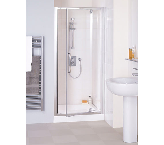 Lakes Classic Silver Semi Frame-less Pivot Door 800 x 1850mm