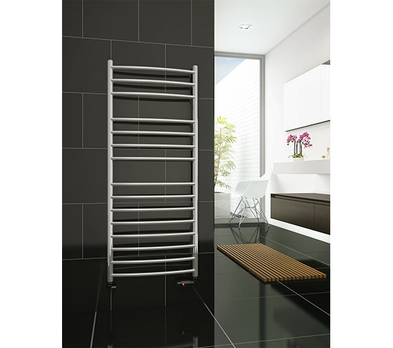 DQ Heating Zante Curved Towel Rail Polished Stainless Steel